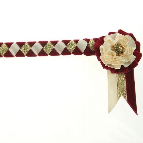 ShowQuest Newport Pony Browband in Burgundy/Cream/Gold
